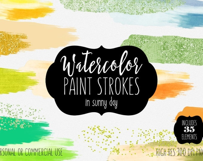 WATERCOLOR & GOLD BRUSH Strokes Clipart Commercial Use Clip Art 35 Confetti Paint Forms Lime Orange Yellow Watercolor Textures Logo Clip Art
