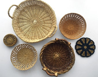 Vintage Set of Woven Baskets and Trivets (Six Pieces)