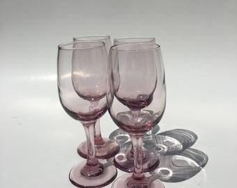 2 Sets of Vintage Libbey Pink Wine Glasses, Pink Libbey Premier Wine Glasses, Set of 6 Vintage Pink Stemware, Pink or Purple Wine Goblets