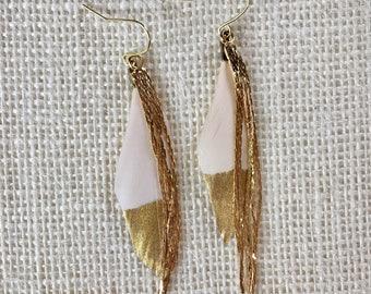 White Feather Earrings, Boho Feather Earrings, White and Gold Earrings, Gold Feather Earrings, Feather Earrings
