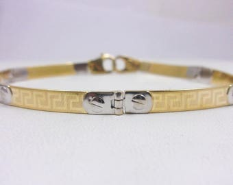 """Solid 14K Yellow Gold Etched Greek Key Bracelet, 7"""", 7.2 grams, 4mm, Two Tone"""