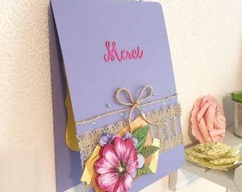 Card decoration hanging purple thanks fuschia flowers bow lace