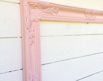 Pink Nursery Frame, Baroque Frame, Ornate Wall Frame, Shabby Chic Wall Decor, Wedding Photo Prop, Birthday Decoration, Open Frame
