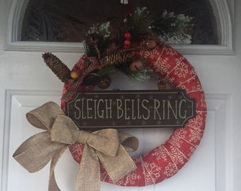 Sleigh bells ring holiday christmas burlap door wreath