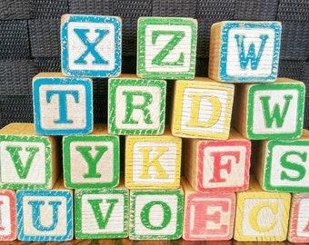 Vintage Building Blocks/Alphabet Blocks/Numbers Blocks/Learning Toy/Toddler Blocks/Letters Building Blocks/Wooden Toy Blocks/Craft Blocks