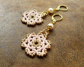Bohemian earrings ~ dangle ~ * unique * ~ pearls ~ Miyuki jewelry ~ beadwoven jewelry ~ Bohemian jewelry