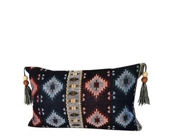 Blue Lumbar Pillow, Ikat Pillow, Long Blue Pillow, Blue Euro Pillow, Indian Home Décor, 20x14 Pillow