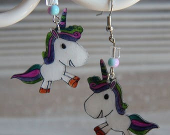 Unicorn crazy plastic earrings