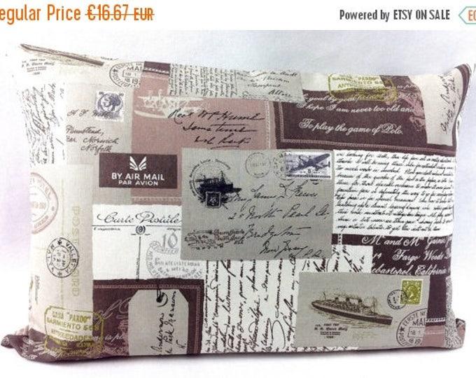 "Xmas Vintage Postcard Stamps Travel Cushion , Bedroom decor, Vintage Cushion Cover, 16"" x 24"""