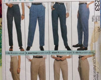 Perfect Fit Pants Size 20 ladies McCalls sewing pattern