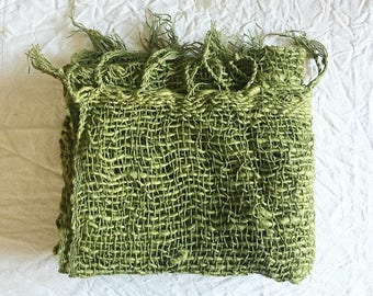 Handwoven Organic cotton scarf - Olive (MADE TO ORDER)