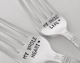 Wedding Forks, My whole heart & My whole life,  set of 2 vintage hand stamped silver forks