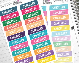 "48 Cancelled Stickers - ""Cancelled Ribbon"" Stickers - Multi Color Variety Line 1 Decorative Planner Stickers"