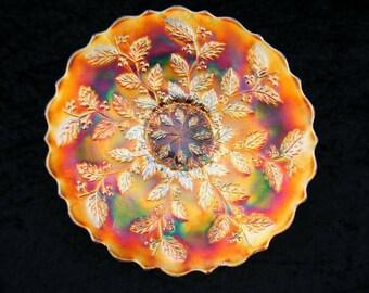 Fenton holly plate, Fenton marigold plate, Carnival Glass, Carnival plate, carnival Antique, carnival glass plate, marigold plate
