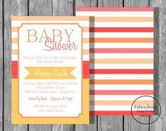 Summer Sale / Baby Shower Invitation / Baby Shower Invitation Girl / Baby Shower Invitation Girl Printable / Simple Baby Shower Invitation