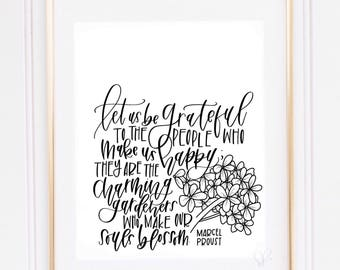 let us be grateful | handmade print | quote print | art print