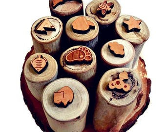 Set of twelve natural play dough stamps