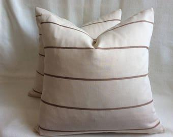 Minimalist Designer Pillow Cover Set - Beige/ Brown Stripe - Invisible Zipper - 2pc Set - 18x18 Covers