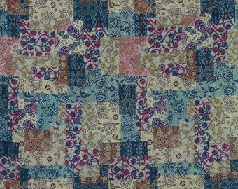 "Quilt Cushion Fabric, Floral Print, Teal Blue and Brown Fabric, Home Accessories, 43"" Inch Cotton Fabric By The Yard ZBC9226D"