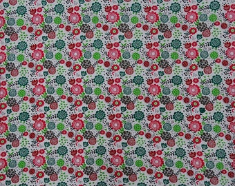 """Floral Cotton Fabric, Floral Print, White Ethnic Fabric, Home Decor, Craft Fabric, 42"""" Inch Fabric By The Yard ZBC9344A"""