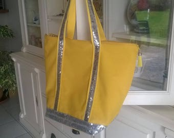 Buttercup yellow sequins and silver glitter tote bag