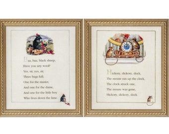 Set of 2 - Vintage Framed/Unframed Nursery Rhyme Art Prints, Ba Ba Black Sheep, Hickory Dickory Dock by Melanie Cargill, Childrens, Kids Art