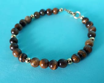 NEW! Eye of the Tiger: Genuine Tiger Eye Gemstone Bead Bracelet