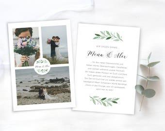 Dankeskarte Hochzeit Greenery / Foto Hochzeitseinladung / Personalisierte Hochzeitseinladung / Danksagungskarte boho modern Eukalyptus