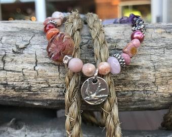 Bracelet, stretch bracelet, beaded bracelet, gemstone bracelet, bird charm bracelet, glass bracelet