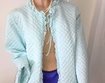 Vintage Sussan quilted 90s does 50s bed jacket size 14