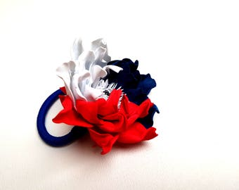 July 4th Flowers for hair Independence day Usa Patriotic outfit Red white blue bow Patriotic bow Red white and blue clip in hair 4th of july