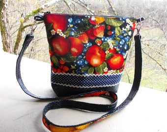 shoulder bag made in a duo of faux leather Navy dragon and fruit print