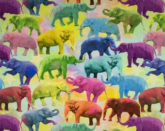 Rainbow Elephants Digital Cotton Lycra Jersey Knit Fabric