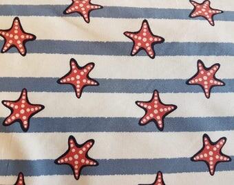 Starfish - blue / red , Cotton Lycra Jersey Knit Fabric