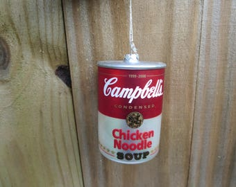 Campbell's Soup Can Christmas Ornament, Chicken Noodle Soup Christmas Tree Ornament, Red White and Silver Ornament, Home Decor