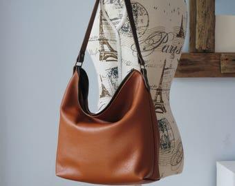 Leather shoulder bag, leather hobo bag, soft leather bag, slouchy shoulder bag, leather purse