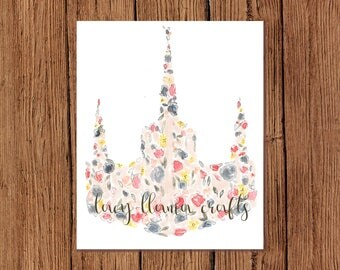 Portland Oregon Temple Floral Watercolor Print