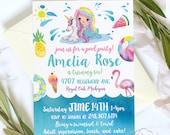 Unicorn and Mermaid Pool Party Birthday Invitation