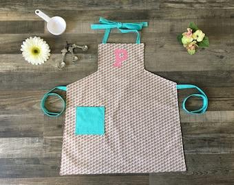 Personalized Aqua Kids Apron-Girls Baking Apron-Craft Apron with pockets-Pink and Aqua kids apron-Girls Art Apron-Tween boutique apron