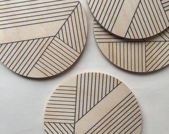 modern coasters/ printed/ art deco coasters/ geometric coasters/ wood coasters/ mid century modern/ minimal coasters/ hostess gift/ for her