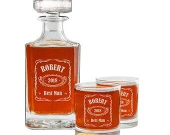 Groomsmen Gift, Whiskey Decanter Set, Personalized Whiskey Decanter, Best Man Gift, Groom Gift, Groomsman