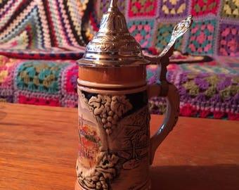 Ceramic Decorative Stein with Lid