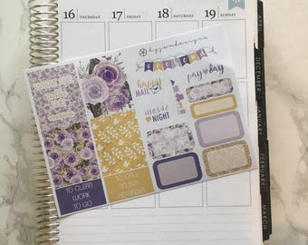 Violet Rose - ONE PAGE Weekly Sticker Add On Kit, for use with EC Lifeplanner™