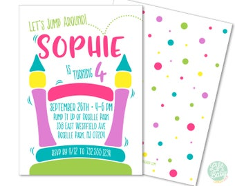 Bounce House Invitation | Bounce House Birthday Invitation | Bounce House Party | Bouncehouse-  5x7 with reverse side