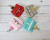 Cat Coin Purse, Kitty Chapstick Case, Cat Lover Gift, Cat Zippered Bag, Cat Earbud Pouch, Kitty Pouch, Embroidered Cat Change Purse