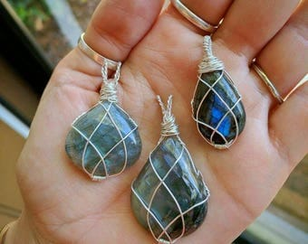 Elven-style sterling Labradorite Pendant (choice of one)