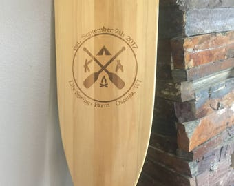 Custom Engraved Canoe Paddle for Gift, Cabin, Award, Resort with your Text or Logo