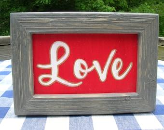 LOVE Wood Sign - Red, Framed in Gray Barnwood - Wedding, Family, Children's Sign