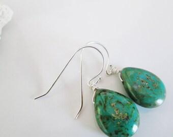 Turquoise Earrings, Green Silver Earrings, Pretty Drop Earrings, Green Dangle Earrings. Green Glass Earrings, Sterling Silver Earrings