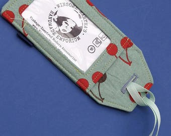 Cherries luggage tags, cotton and vinyl with coordinating ribbon